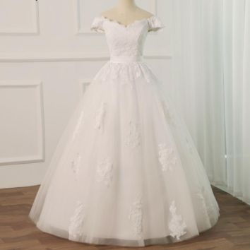 Lace Wedding Dress Off the Shoulder Applique Bridal Gowns with Lace-up Back