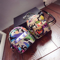 Back To School Casual College Camouflage Bag Travel Mini Backpack [6582215367]