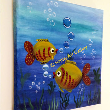 Fish, love, Kids wall art, Baby boy nursery art, Baby Girl nursery decor, kids room, kids painting, Baby art, nursery painting, blue 12X12""