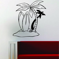 Surfboards Beach Scene Palm Trees Decal Sticker Wall Vinyl Art Decor Home Ocean Surfer Surf Sports Summer