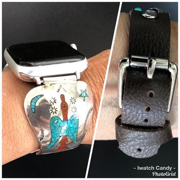 38/40 42/44 Apple Watch Band Leather Native American Watch Tips Vintage Navajo Turquoise & Coral Mosaic Inlay Peyote Bird Sterling Silver