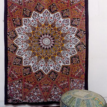 SMALL cotton indian star psychedelic mandala tapestry wall hanging hippie throw bedspread bohemian ethnic decor art