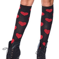 Love Sick Heart Knee High - One Size- Black/Red