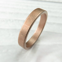 Brushed 4MM Rose Gold Low Profile Wedding Band