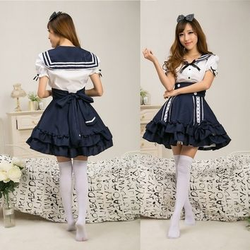 Fashion Japanese School Girl Students Sailor Lingerie Uniform Cosplay Sexy Anime Costume