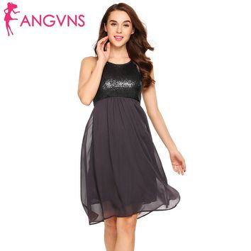 ANGVNS 2018 Sexy Sleeveless O-neck Sequin Tunic Dress Cutout Women Elegant Chiffon Patchwork A-Line Women Party Swing Tank Dress