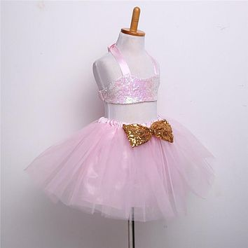 Princess Girl O-neck Sleeveless Sequined Floral Ball Gown Party Dresses One Piece Daily Dress
