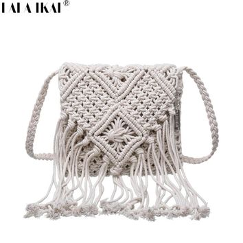 LALA IKAI 2017 Summer Shoulder Bag Knitting Woman Bohemian Style Crochet Bag Ladies  Hollow Out Tassel Beach Bag BWA0447-4.9