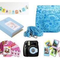 Fujifilm Instax Mini 8 Instant Camera Accessory Bundles Set (Included: Blue Mini 8 Vintage Case Bag/ 64 Pockets Blue Hard Cover Instax Mini Book Album/ Blue Mini 8 Close-Up Lens(Self-Portrait Mirror)/ Wall Decor Hanging Frame/ 3 Inch Photo Frame/ Colorful