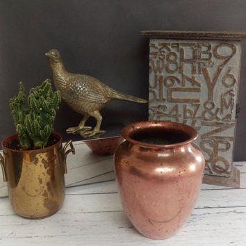 Rustic Copper Vase/ Copper Vessel/ Copper Bowl/ Copper Pot/ Rustic Vase/ Copper Decor/ Copper Anniversary/ Primitive Copper/ Copper Planter