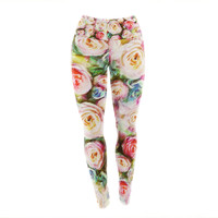 "Dawid Roc ""Pastel Rose Romantic Gifts"" Green Photography Yoga Leggings"