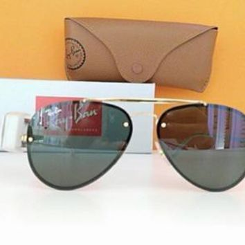 RAY BAN MOD 3584N COL 001 58/13 BLAZE AVIATOR GOLD SUNGLASSES DARK GREEN