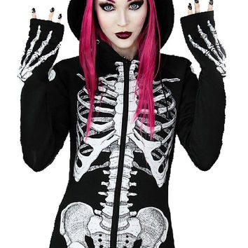 Gothic SKELETON Print Black Hoodie Long Horror Jacket with Hood