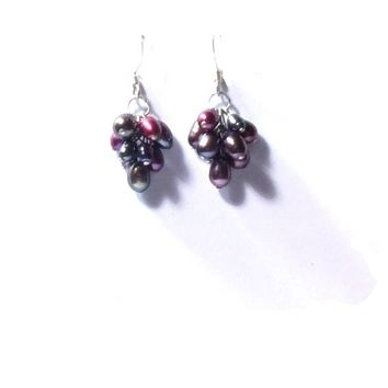 Sterling Silver  Peacock  Freshwater Pearl  Cluster Earrings