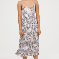 Pleated Dress - White/floral - Ladies | H&M US