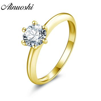 AINUOSHI 10k Solid Yellow Gold Wedding Ring 0.8ct Lover Promise Engagement Band Solitaire Simulated Diamond Bridal Wedding Rings