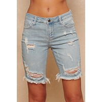 Shipwrecked In Bermuda Jean Shorts (Light Wash)