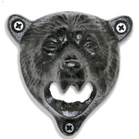 Grizzly Bear Head Wall Mounted Bottle Opener | Mounting Hardware Included