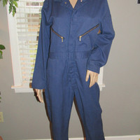 70s Mechanic Coveralls / Vtg 70s Jumpsuit / Military One Piece / Pit Crew Coveralls / Industrial Garage Mechanic Wear / Vintage Overalls