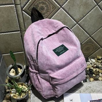 New arrival Autumn and winter corduroy backpack female college backpack bag  student backpack women backpack