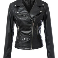 Black Zip-Up Notched Collar Long Sleeve Faux Leather Jacket