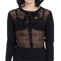 Web Lace Cardigan With Chiffon Tie | Blame Betty