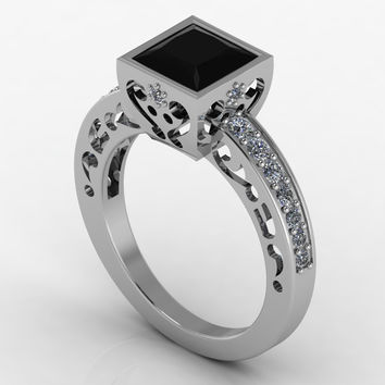 Special Sale Priced Gothic Engagement Ring Solid Silver 360.00 OFF