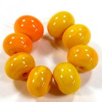 Opaque Medium Lemon Yellow Buttercup Handmade Lampwork Glass Beads 408b Offered in Shiny or Etched With or Without .999 Fine Silver, Jewelry Supplies, Bead Making Supplies, Jewelry Beads, Your Choice