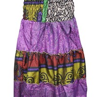 Mogul Interior Women's 2 in 1 Strapless Dress Skirt Sari Colorful Tiered Dresses S/M