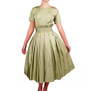 Vintage Suzy Perette Pale Green Silk Cocktail Dress 1950'S 36-25-Free Beauty