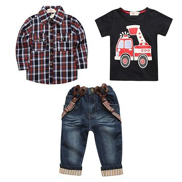 Boys Suspender Jeans with Checkered Shirt and Short Sleeve Shirt 3 Piece Set