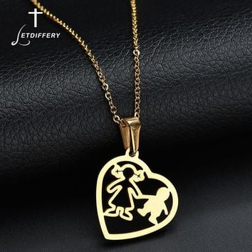 Letdiffery Gold Hollow Mom Son Mother Daughter Heart Necklace For Women Men Stainless Steel Chain Necklaces Family Love Jewelry