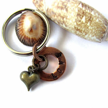 Love Key Ring Copper Keychain Brass Heart Charm Hand Stamped by Hendywood