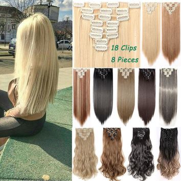 100% Long Clip in Hair Extensions 8 Pieces Full Head Real as Human Hair New ssl2