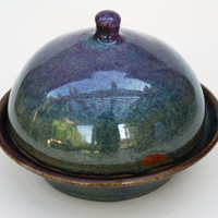 Pottery ceramic butter dish with lid. Round Pottery plate-  Pottery and ceramics Butter dish.