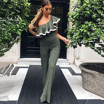 Falbala Pure Color One Shoulder High Waist Long Wide-leg Jumpsuits