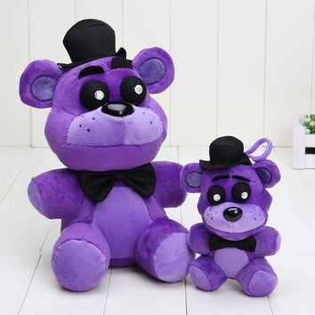 10pcs/lot 25cm 14cm   At  Plush toys Nightmare purple bear Freddy Fazbear plush pendant keychain toys