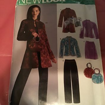 New Look Pattern 6519 size 10-22 Oriental Top, jacket,pants and pursesize 10-22