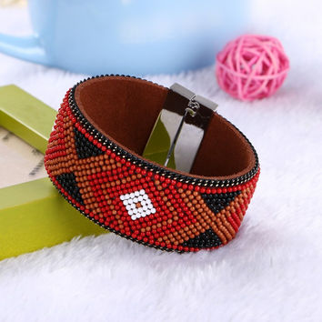 Leather Magnetic Bracelet & Bangles Bohemian beads Accessories ethnic style Wide Multilayer Bangles