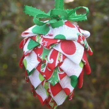 DIY Do-It-Yourself  Ribbon or Fabric Pinecone Ornament Instructions - Instant Download