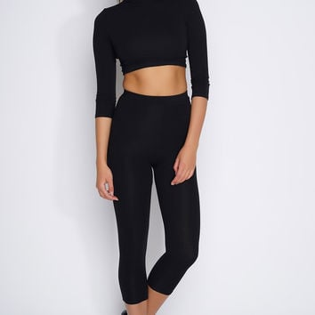 Zahra Cropped Set - Black