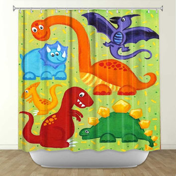 Shower Curtain - Dinosaur Jumble - Dinosaur Bathroom Decor - Dinosaur Theme for Kids