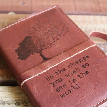 Be The Change - Tree With Blowing Away Leaves Leather Journal