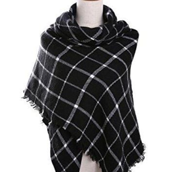 Bess Bridal Women's Plaid Blanket Winter Scarf Warm Cozy Tartan Wrap Oversized Shawl Cape