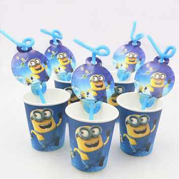 10pcs/set Birthday Party Decoration Disposable Straw Paper Cups Minions Cartoon Pattern Minions Theme Kids Party Supplies
