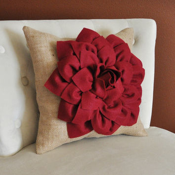 Decorative Throw Pillow, Accent Pillow, Ruby Red Dahlia on Burlap Pillow, Home Decor Pillows