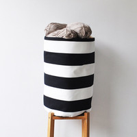 Large Laundry Hamper, Laundry Basket, Toy Storage, Nursery Fabric Basket, Storage Bin, Toy Basket, Nursery Storage, Black & White