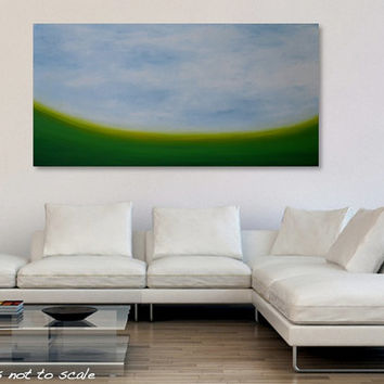 Large 48 x 24 Abstract Landscape Painting - Original Modern Minimalist Field Sky Canvas Acrylic Wall Art Decor - Green, Yellow, Grey - Huge
