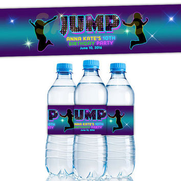 Girls Jump Water Bottle Labels - Glow Trampoline Birthday Party Favor - Neon Trampoline Bottle Labels - Purple Girl Birthday Party 80s Blue