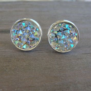 12mm Clear Iridescent Rainbow Druzy Stud Earrings Rough Stone Faux Gemstone Frozen Snowflake Aurora Borealis Crystal Blue Yellow White Pink